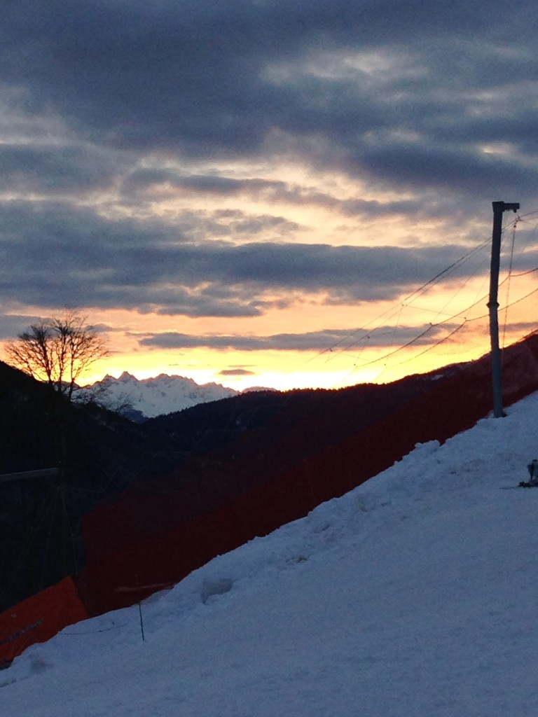Sunrise heading up to course on DH race day